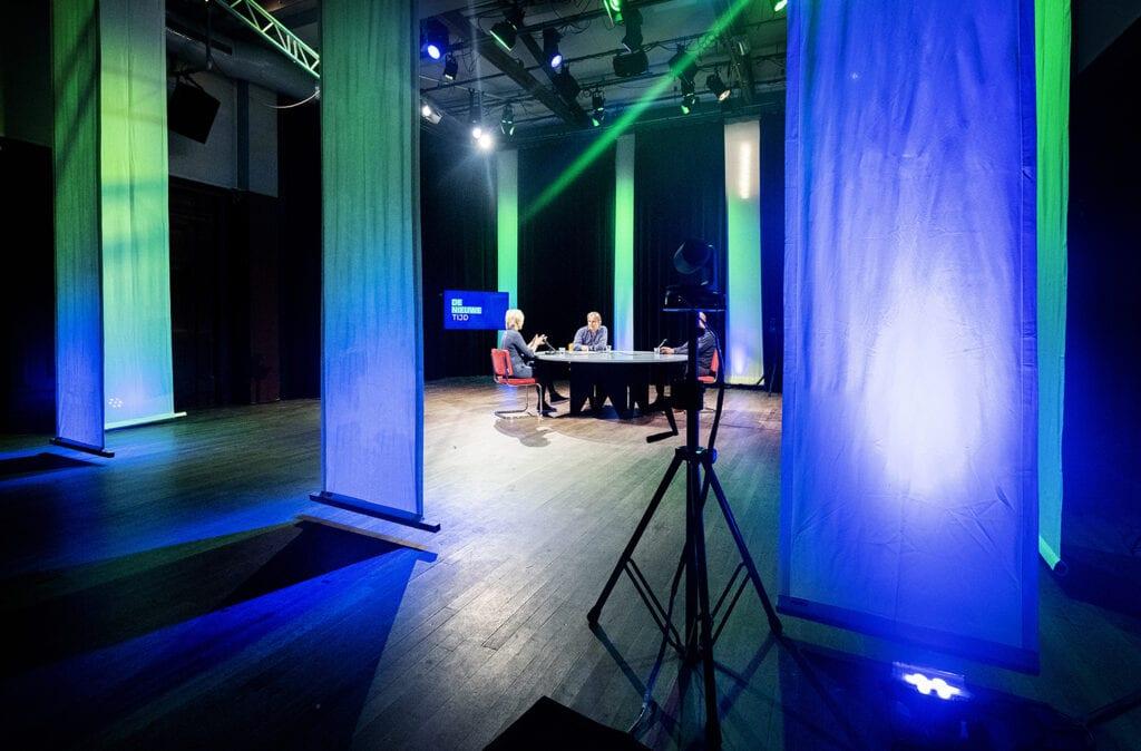 decor van nieuwe programmareeks De Nieuwe Tijd in De Balie